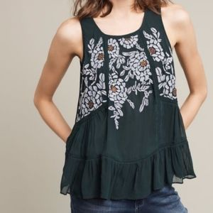 Anthropologie green embroidered floral tank blouse